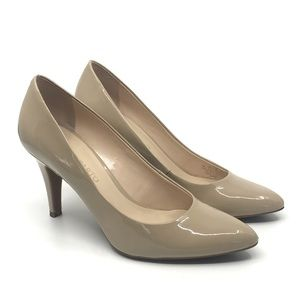 FRANCO SARTO NUDE PATENT LEATHER POINTY TOE PUMP